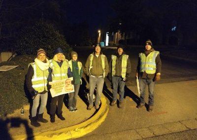 Outdoor Volunteers at Night